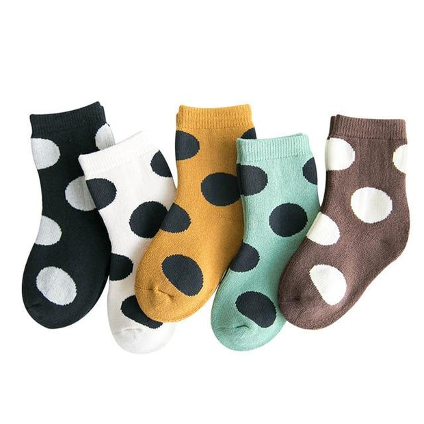 Children's Polka Dot Thermal Socks-5 Pack - 6 to 8y / Polka