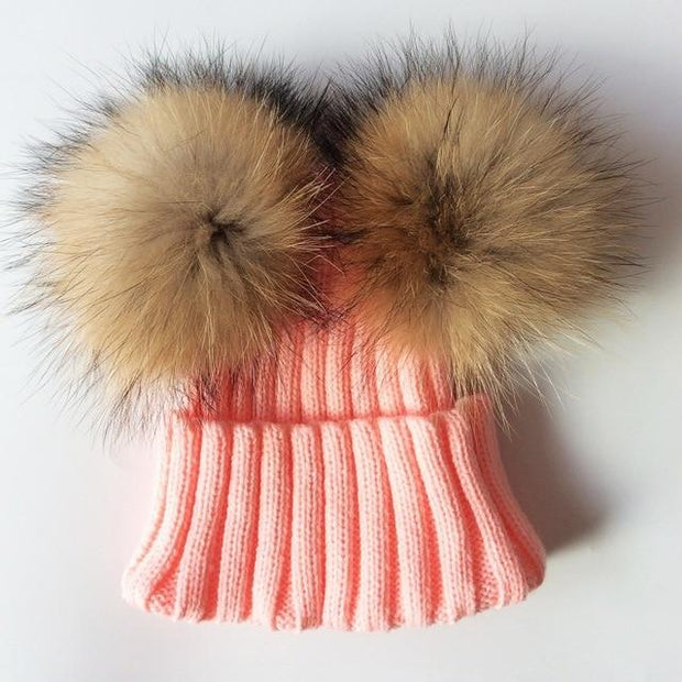 Children's Rib Knitted Double Natural Raccoon Pom Pom Hat -