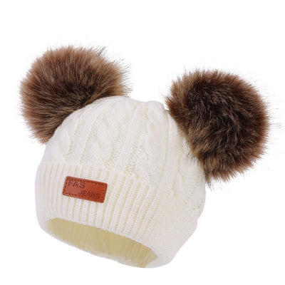 Children's Rib Knitted Hat with Two Poms - Kid's winter hats