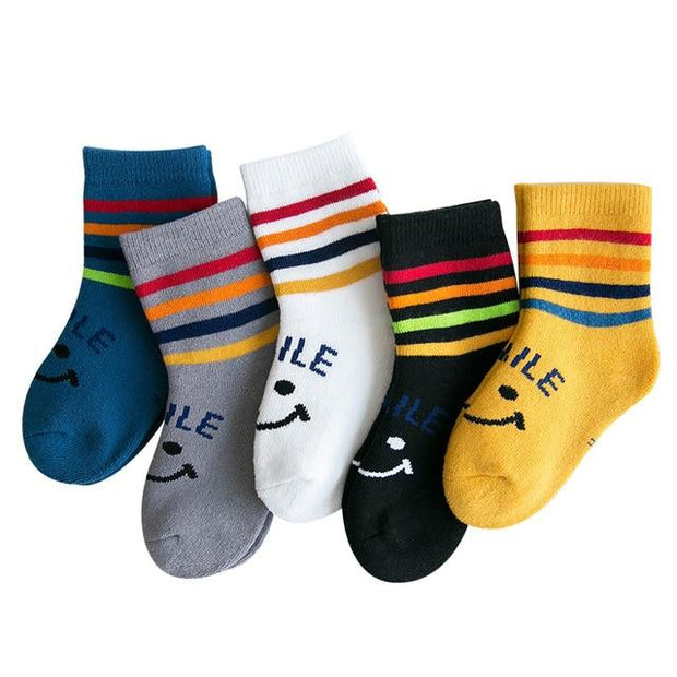 Children's SMILE Thermal Socks-5 Pack - c167 / 6 to 8y -