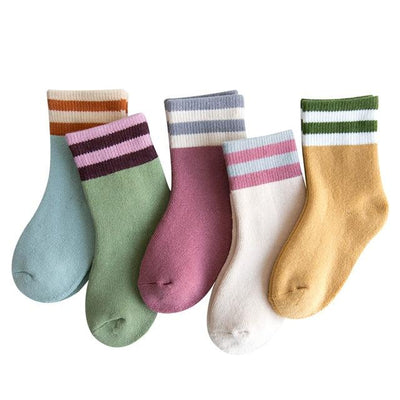 Children's Stripes Thermal Socks-5 Pack - c161 / 6 to 8y -