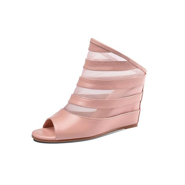 CHRIS - Genuine Leather Wedge Heels - Pink / 8 - women's