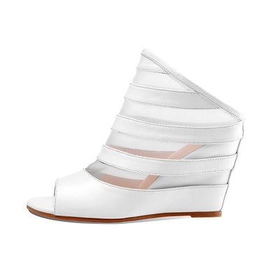 CHRIS - Genuine Leather Wedge Heels - WHITE / 3 - women's