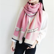 Colorblock Faux Cashmere Scarf - women's scarves