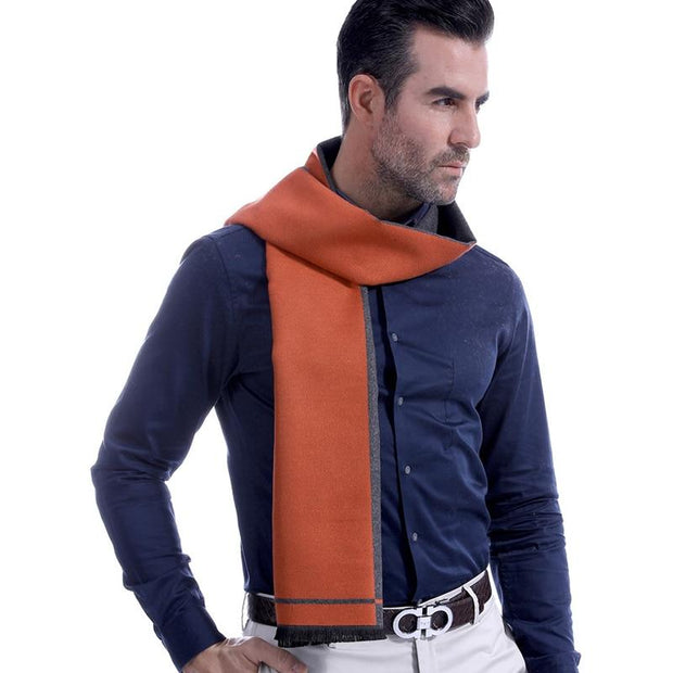 Colorblock Gray and Orange Wool and Cashmere Blend Scarf -