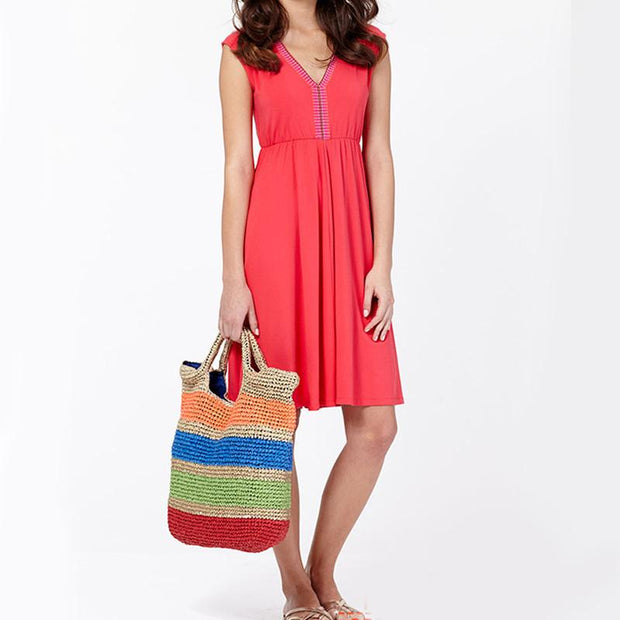 Crochet Multicolor Straw Bag - Women's Bags
