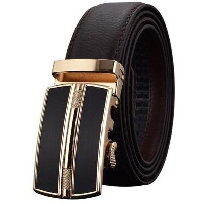 Daniel - Dark Brown/Gold / 120CM - Men's belts