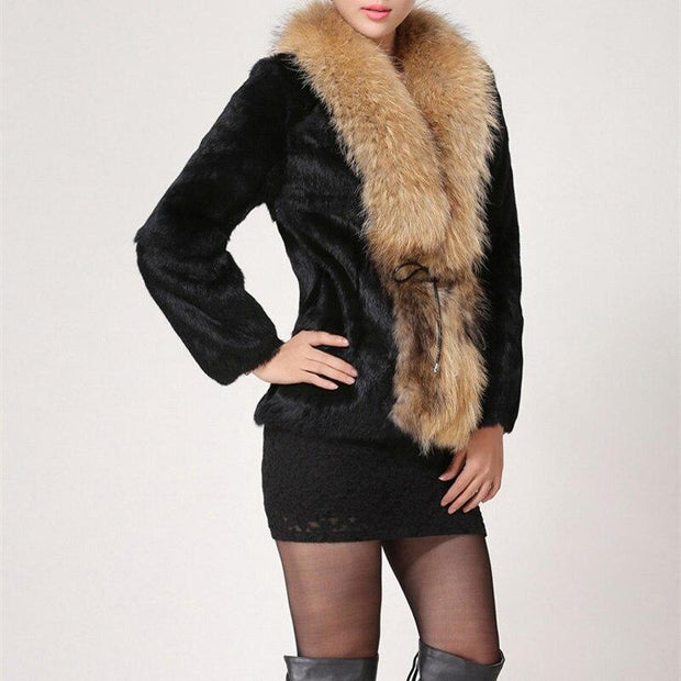 DELAN - Genuine Rabbit Fur with Raccoon Fur Collar and Trim