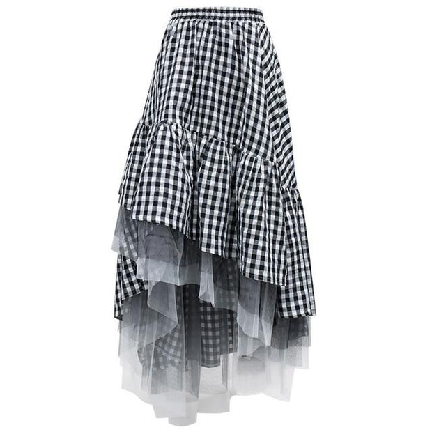 DELLA - Flare Skirt with Mesh Trim - see picture XJ3506 / S