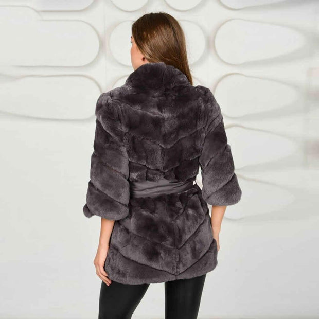 DOMINIQUE - Rex Rabbit Fur Coat - WOMEN'S COATS