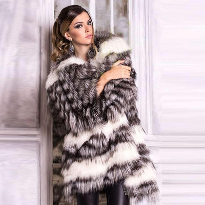 DONIA - Layered Genuine Silver Fox Fur Coat - WOMEN'S COATS