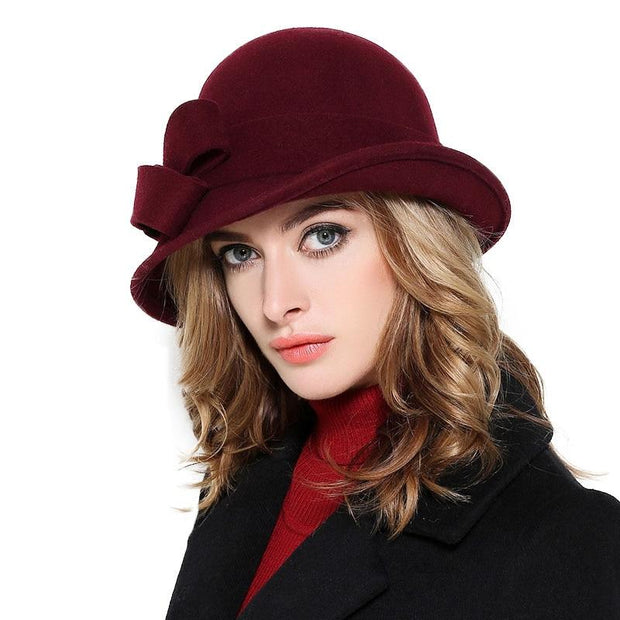 Double Bow Felt Hat - Wine Red - Women's Fedoras