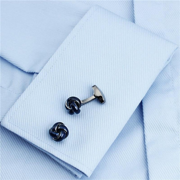 Elegant Blue Knot With Firness Fitting Cufflinks - Men's