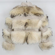 Elena - Wool and Raccoon For Bomber Jacket Beige - WOMEN'S