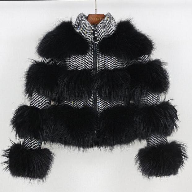Elena - Wool and Raccoon For Bomber Jacket Black - Black / M