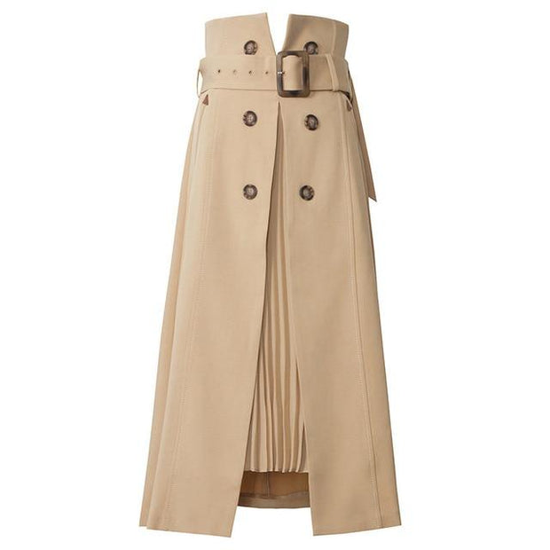 ELLIE - Khaki High Waist Skirt - Brown / XL - women's skirts