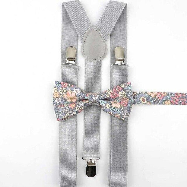 Father and Son Bowtie and Suspender Collection - Gray Floral