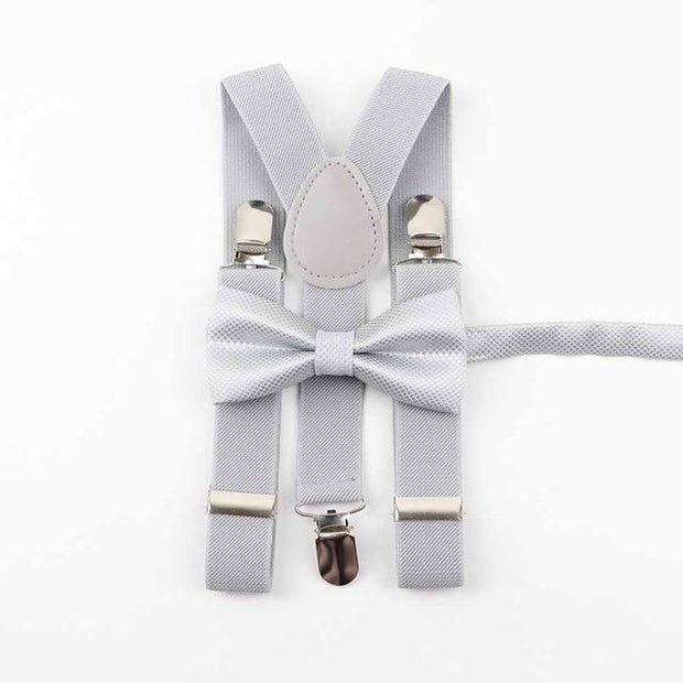 Father and Son Bowtie and Suspender Collection - Light Gray