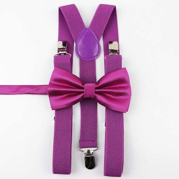Father and Son Bowtie and Suspender Collection - Magenta