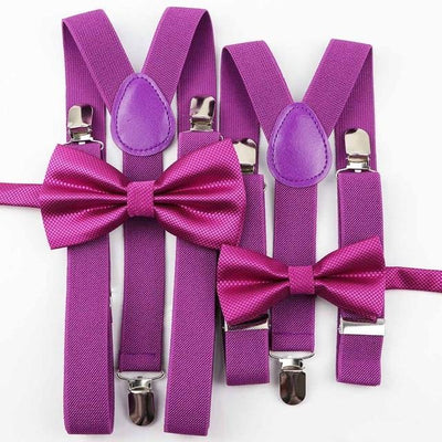 Father and Son Bowtie and Suspender Collection - Magenta Set