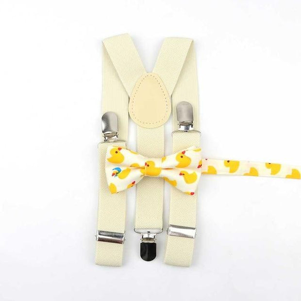Father and Son Bowtie and Suspender Collection - Off-White