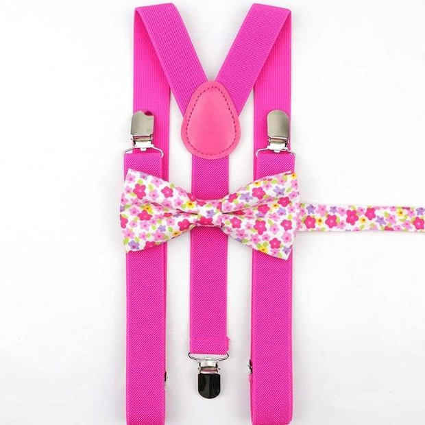 Father and Son Bowtie and Suspender Collection - Pink/White