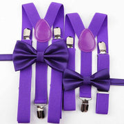Father and Son Bowtie and Suspender Collection - Purple Set