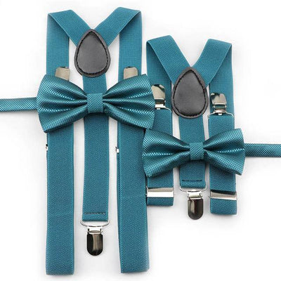 Father and Son Bowtie and Suspender Collection - Turquoise