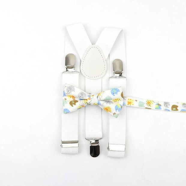 Father and Son Bowtie and Suspender Collection - Wh ite/