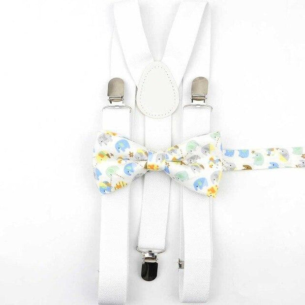 Father and Son Bowtie and Suspender Collection - White/