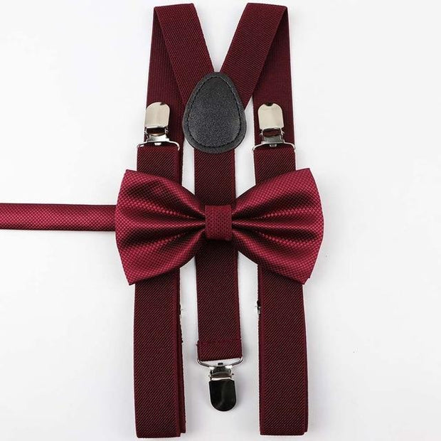 Father and Son Bowtie and Suspender Collection - Wine Adult