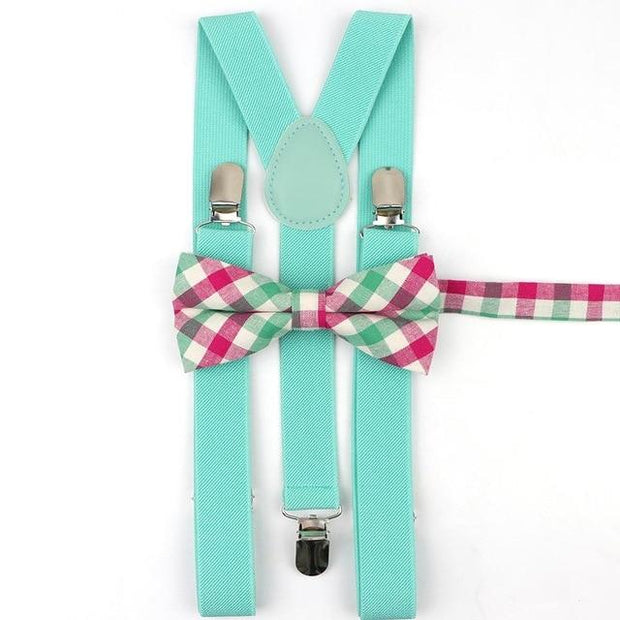 Father and Son suspender and bowtie Set - Adult Aqua 15 -