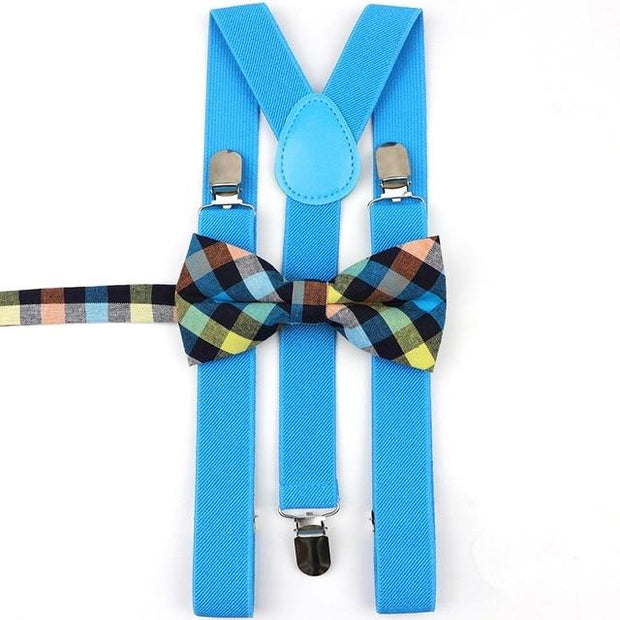 Father and Son suspender and bowtie Set - Adult Blue 17 -