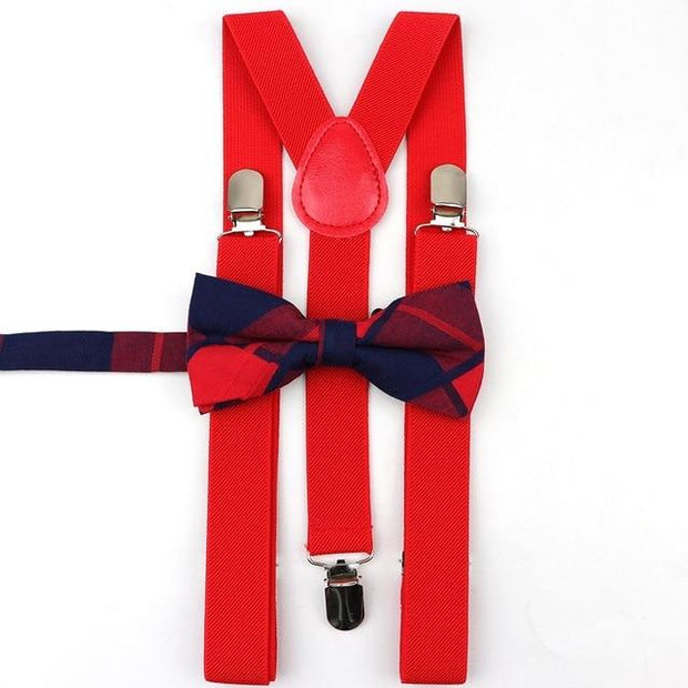 Father and Son suspender and bowtie Set - Adult Red 12-2 -