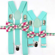 Father and Son suspender and bowtie Set - Aqua Set 15 -