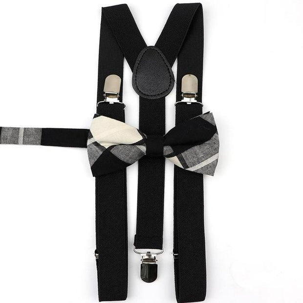 Father and Son Suspender and Bowtie Set - Black - Black
