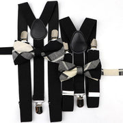 Father and Son Suspender and Bowtie Set - Black - Black -