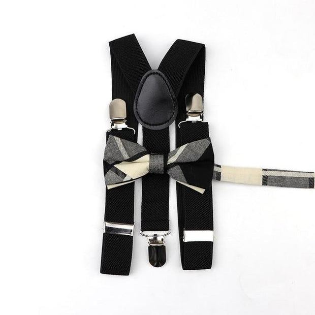 Father and Son Suspender and Bowtie Set - Black - Black Kids