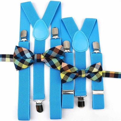 Father and Son suspender and bowtie Set - Blue Set 17 -