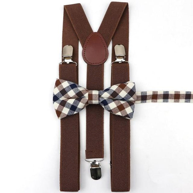 Father and Son suspender and bowtie Set - Brown Striped