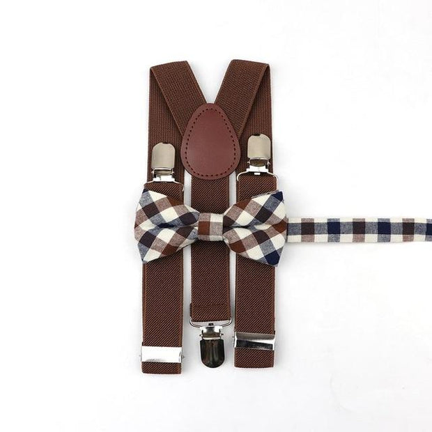 Father and Son suspender and bowtie Set - Brown Striped Kids