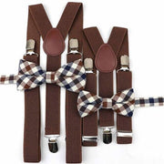 Father and Son suspender and bowtie Set - Brown Striped Set