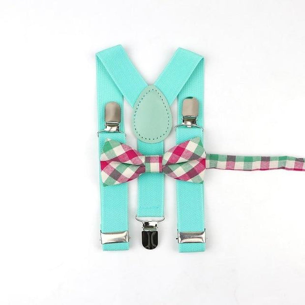 Father and Son suspender and bowtie Set - Kids Aqua 15 -