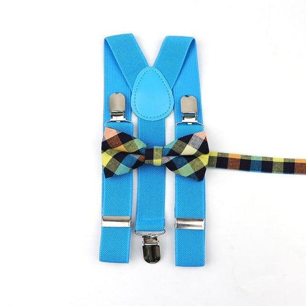 Father and Son suspender and bowtie Set - Kids Blue 17 -
