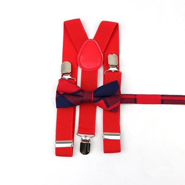 Father and Son suspender and bowtie Set - Kids Red 12-2 -