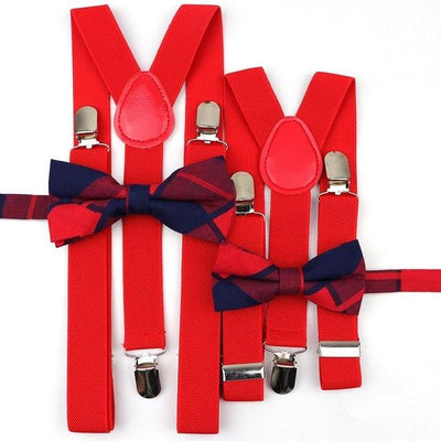Father and Son suspender and bowtie Set - Red Set 12-2 -