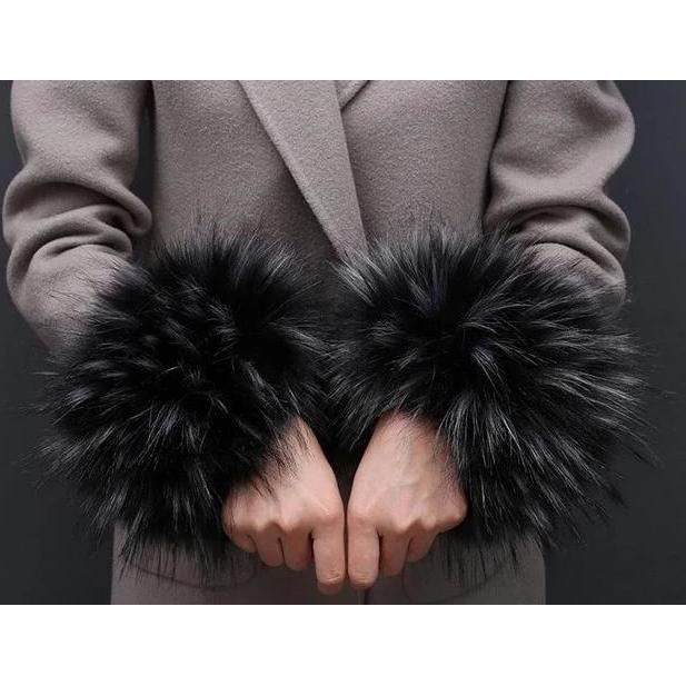 Faux Fur Cuffs - Fluffy - Frosted Black - Women's Cuffs