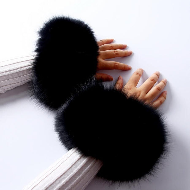 Fox Fur Black Cuffs Pair - Fur Cuffs