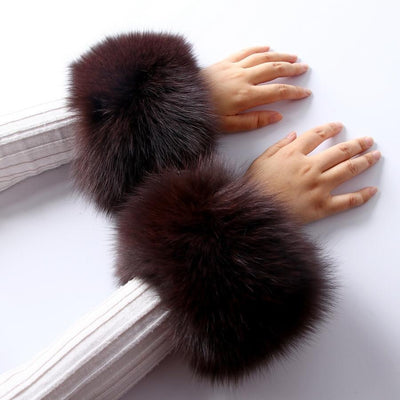 Fox Fur Brown Cuffs Pair - Fur Cuffs