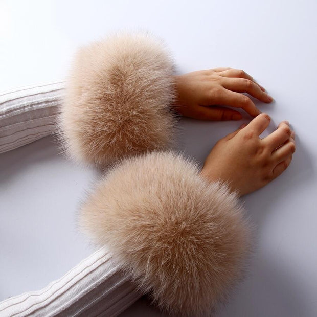 Fox Fur Light Camel Cuffs Pair - Fur Cuffs